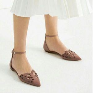 Zara women Maeve laser cut suede pointed toe flats